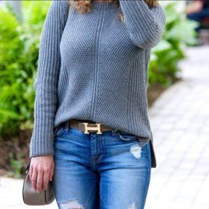 Madewell Hexcomb Charcoal Gray Sweater Textured Co